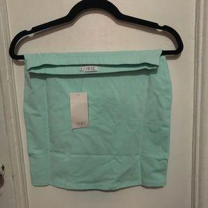 NWT mint ice blue mini skirt bodycon Small Tobi